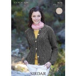 Cardigan+in+Sirdar+Click+DK+(9678)+£2.99
