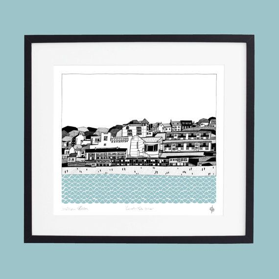 Cornwall  Tate St Ives screen print by GeorgiaBosson on Etsy