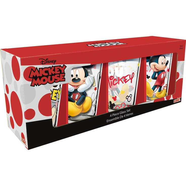 Mickey Mouse 10 Oz Juice Glasses   Set Of 4