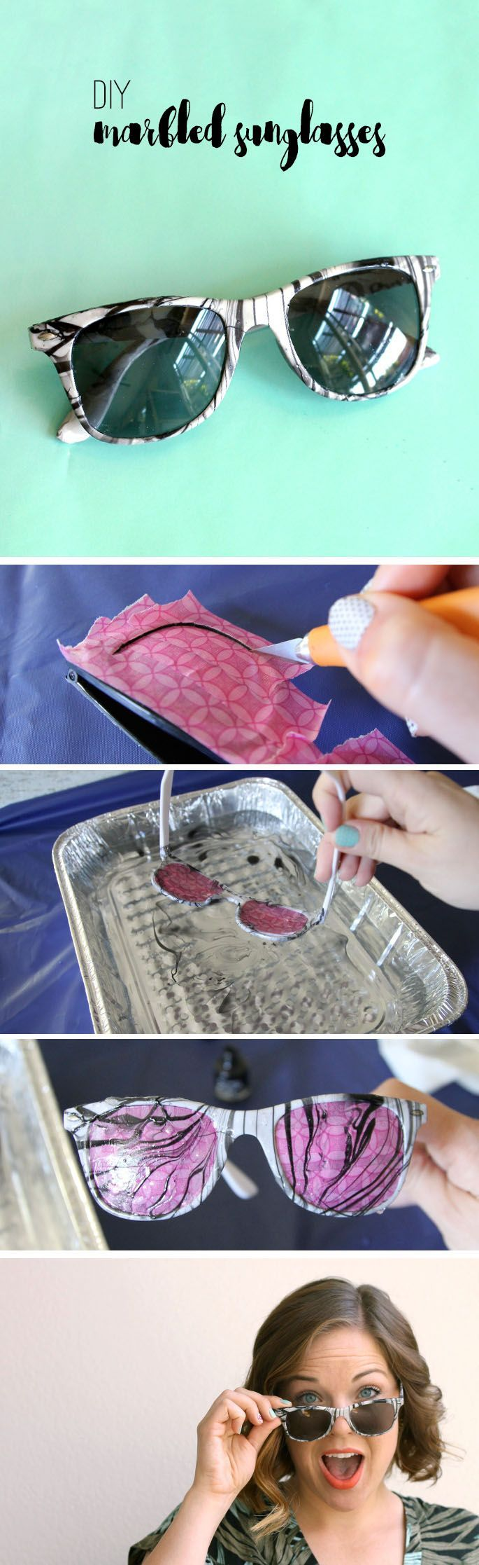 make your own DIY Marbled Sunglasses - so easy and fun