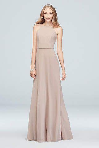 49693688bbf View Halter High Neck Bridesmaid Dress at David s Bridal ...