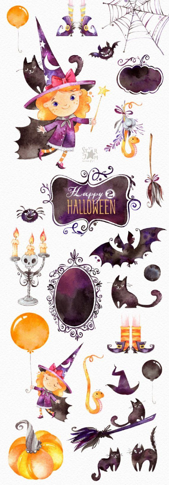 Happy Halloween 2. Watercolor clipart, bat, little witch, magic, bunting banners, frames, boo, skull, greeting, invite, floral, print, kids – Hasen frau