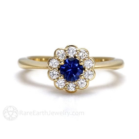 Blue Sapphire Engagement Ring 14K Sapphire Ring by RareEarth