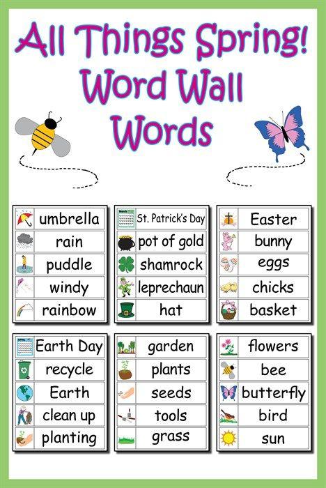 30 Spring Word Wall Words - FREE Printable