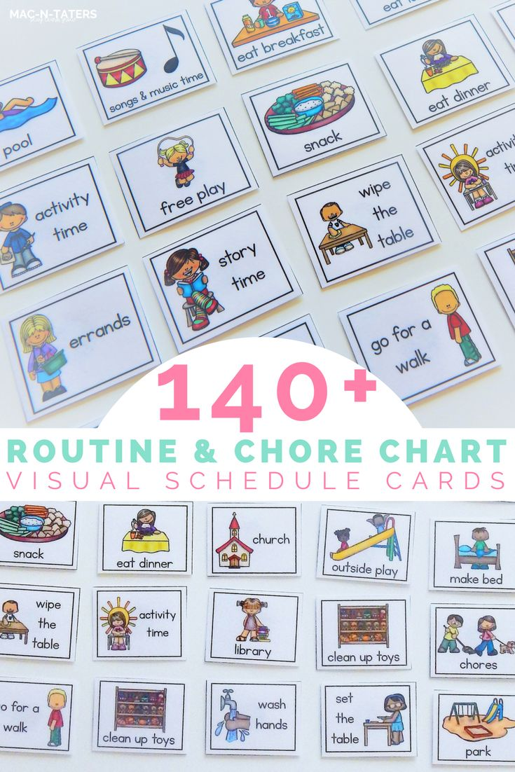 Visual Schedule and Chore Chart cards to help create a well structured routine for each day. There are over 140 different cards including daily routines, chores,school subjects,errands, therapies,and after school activities. These cards are perfect for home and school use.