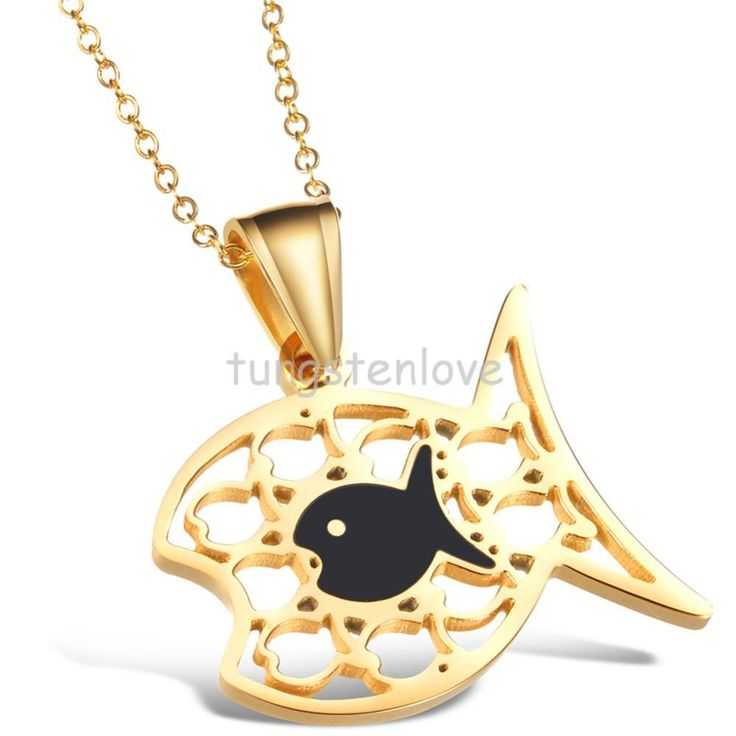 Gold Tone Chain Jewelry Angelfish Swim Tropical Fish Pendant Necklace-Gold & Black Tone Women Necklace