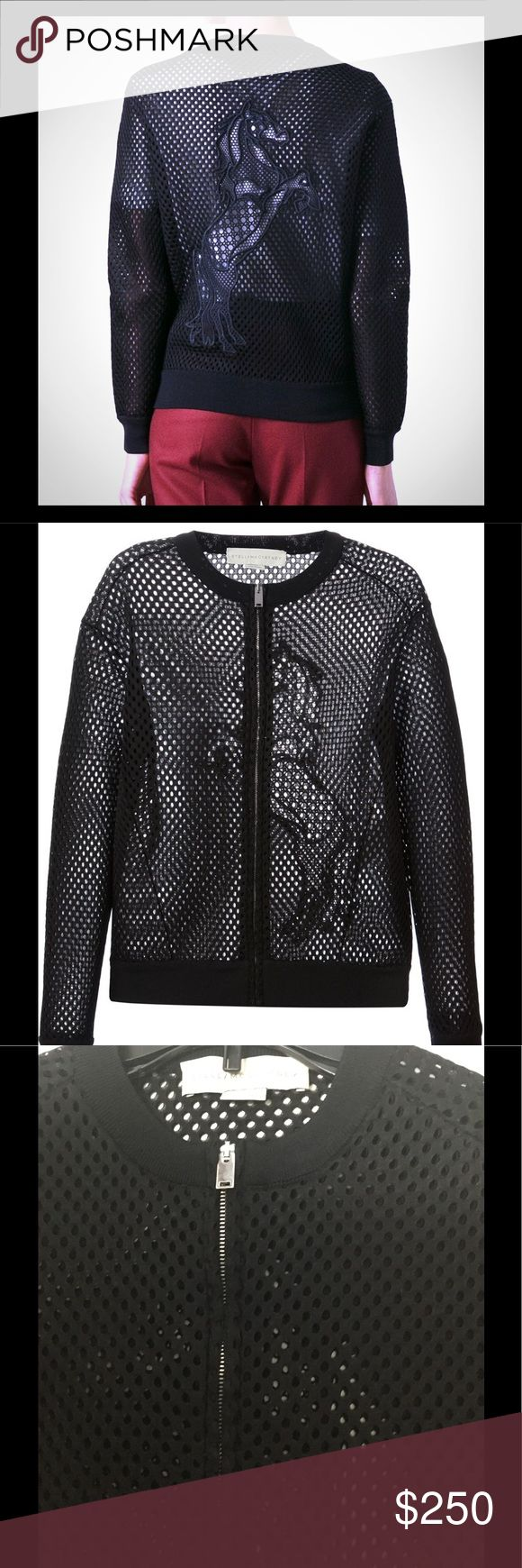 Stella McCartney Black Mesh Horse Jacket. Please read all. Authentic New Stella McCartney Mesh Jacket without tags. There is a tear where the inside label is.Someone tried tearing the label and ripped material. This is very small and a couple stitches would take care of. This is sold out. Last seen for sale at farfetch for 1095.00- price reflects the defect. The rest of jacket is new never worn. Stella McCartney Jackets & Coats Blazers