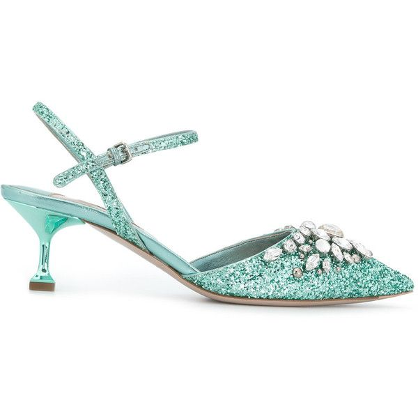 Miu Miu embellished glitter pumps ($1,170) ❤ liked on Polyvore featuring shoes, pumps, green, pointed-toe pumps, green glitter shoes, glitter pumps, green leather shoes and pointy toe ankle strap pumps