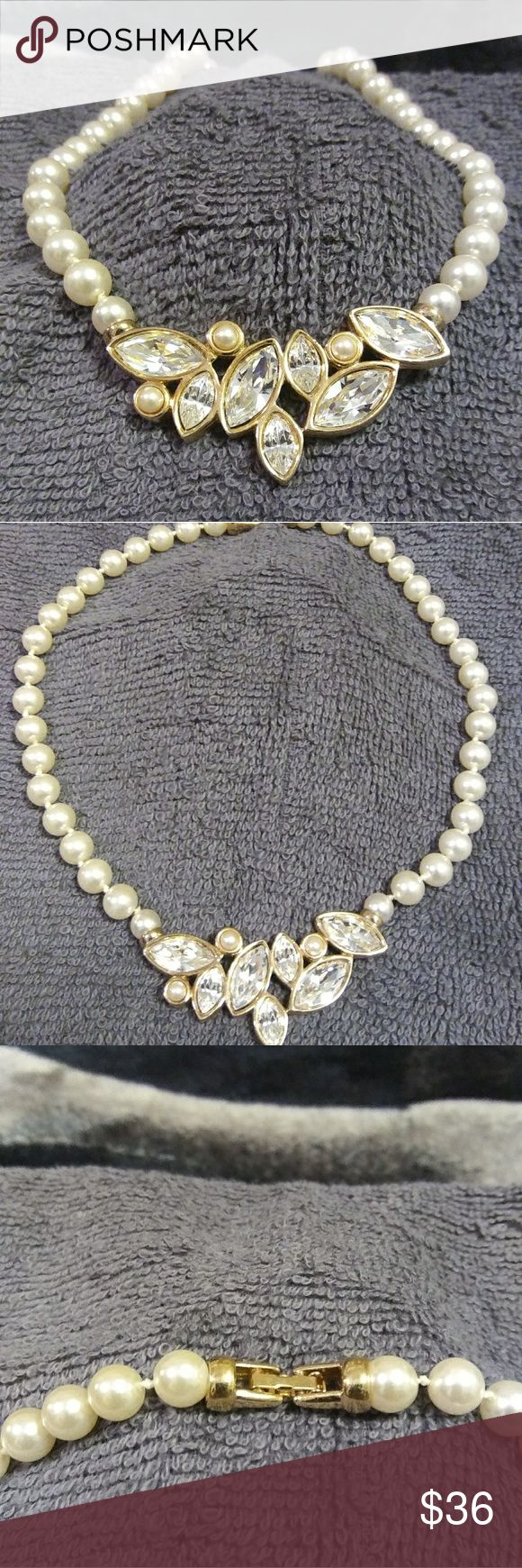 Vintage S.A.L Signed Necklace Swarovski America, Ltd., S.A.L. was the first name under which the famed Austrian crystal company began manufacturing their own jewelry. Swarovski crystals and faux pearl very beautiful vintage condition. Swarovski Jewelry Necklaces