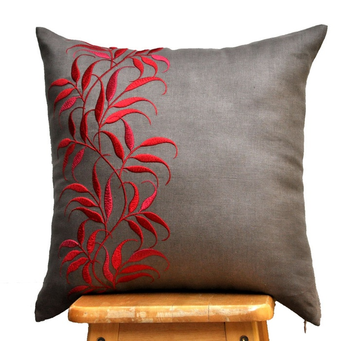 Medium Taupe Linen with Red Leaves Embroidery Throw Pillow Cover / Jenny Januarti / KainKain