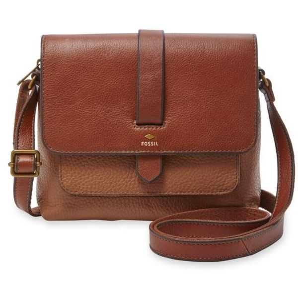 Fossil  Kinley Small Crossbody (305 TND) ❤ liked on Polyvore featuring bags, handbags, shoulder bags, brown leather purse, crossbody shoulder bag, fossil shoulder bags, fossil handbags and fossil crossbody