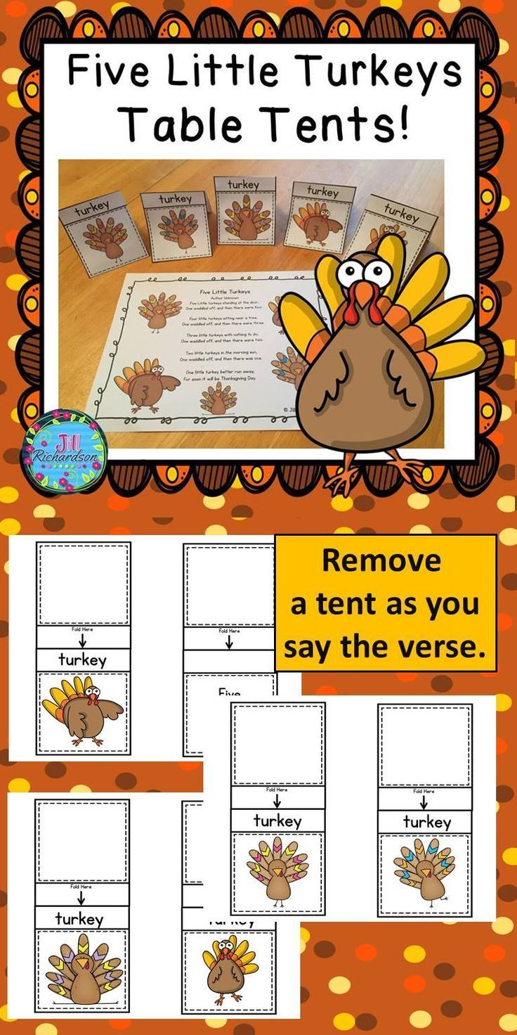 """Use Turkey Table Tents to have children manipulate as they recite Five Little Turkeys!  Have fun teaching your children """"Five Little Turkeys!"""" Use the table tent turkeys to act out the five little turkeys waddling off. This activity will also help teach subtraction. Can use as whole group, literacy center or independent work. Included: Five table top turkeys in color and black and white. Five Little Turkeys poem. Have Fun!"""