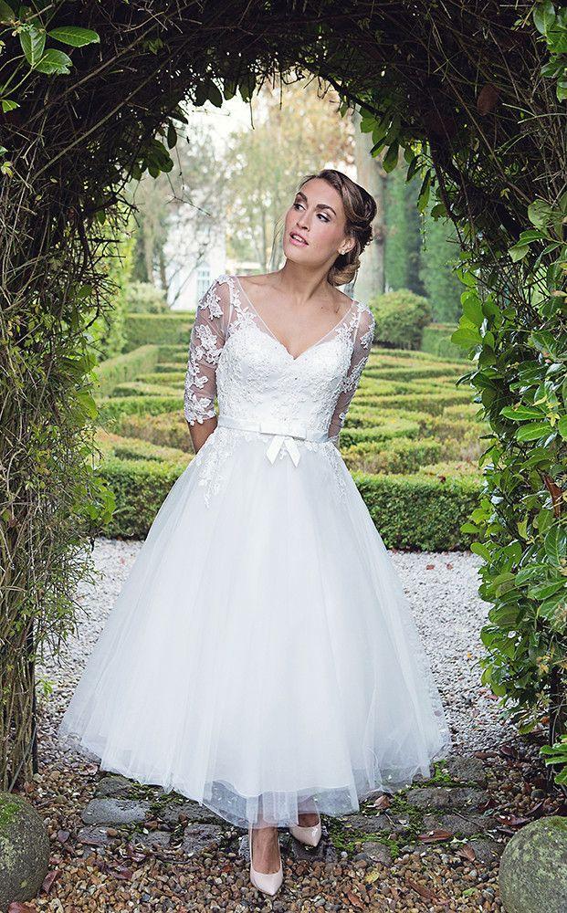 Hn florence calf length fifties style wedding dress for 50 s style short wedding dresses