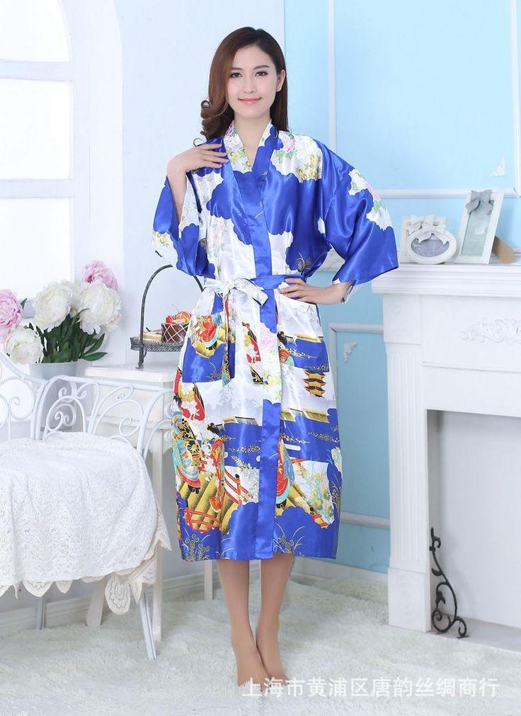 Japanese Kimono cosplay costumes Traditional Rayon Silk Bathrobes Vintage Original Kimono With Obi Lady Flower Yukata 80302