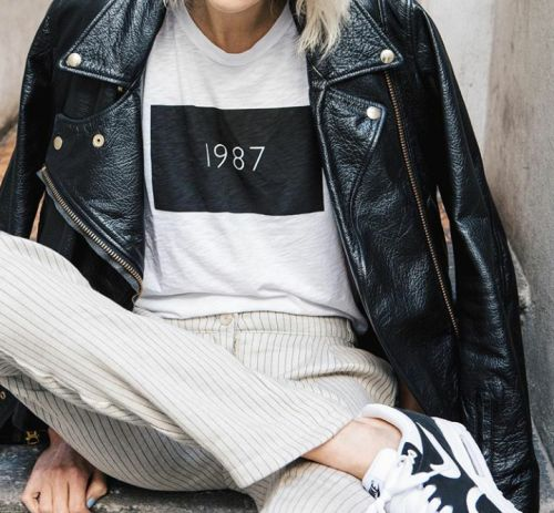 Be proud of the year you were established. Love this tee! And can't beat the leather jacket and tennies!