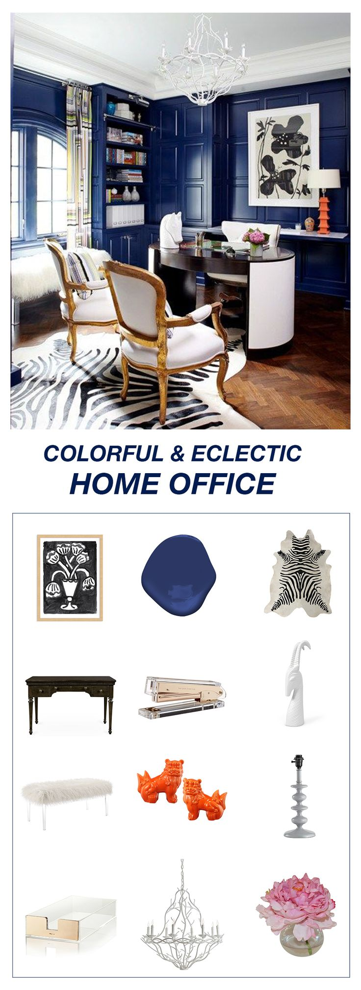 Get the look: colorful & eclectic home office accessories