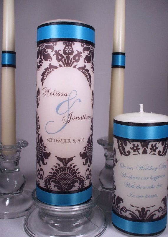 "Candle Combo - Any Unity Candle Set and One Small 6"" Coordinating Memorial Candle"
