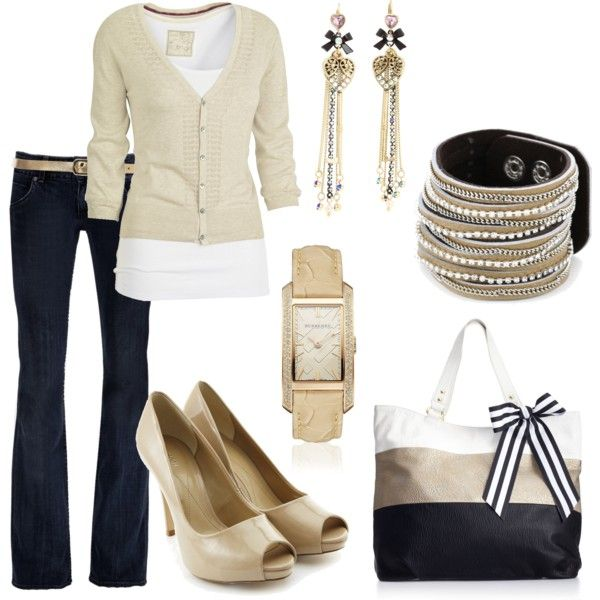 tans and denim: Fashion, Casual Friday, Nude, Style, Dream Closet, Bag, Fall Outfit, Work Outfits, Dark Jeans