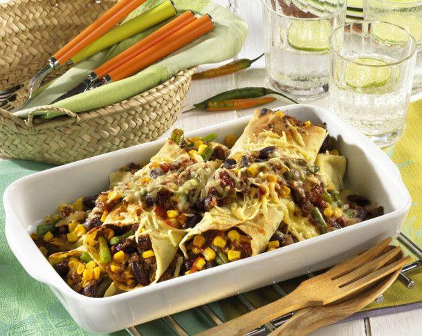 Unser beliebtes Rezept für Enchiladas gefüllt mit Hackfleisch und Bohnen und mehr als 55.000 weitere kostenlose Rezepte auf LECKER.de.