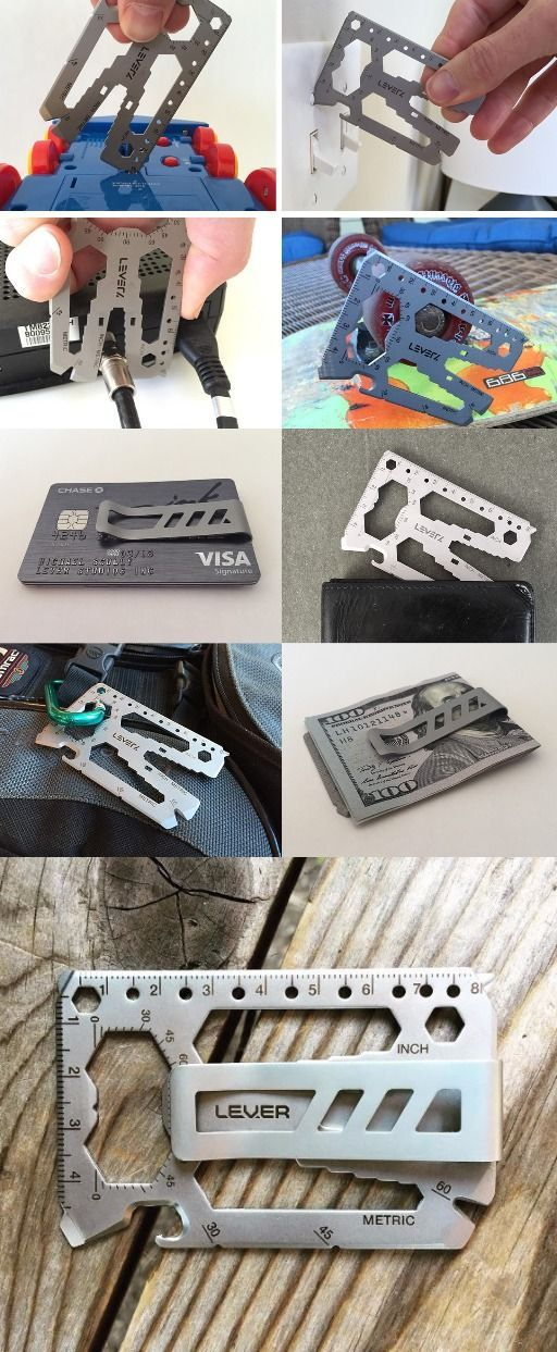 Toolcard Pro - Silver by Lever Gear - Credit Card Size EDC Multi Tool for Everyd...
