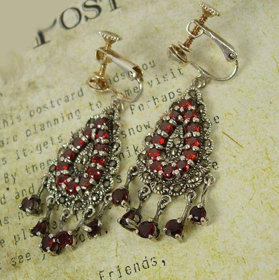 Vintage Bohemian Garnet Chandelier earrings by vintagesparkles, $195.00