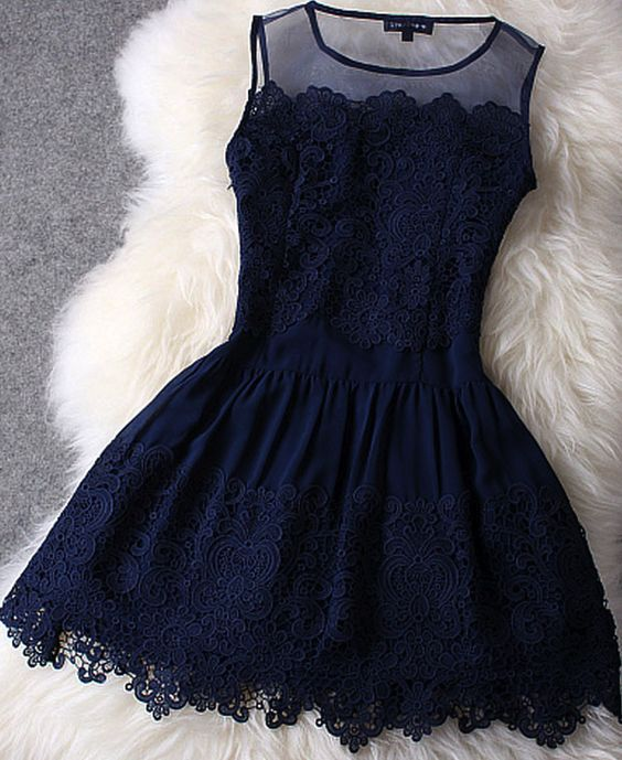 Dark Navy Blue Homecoming Dress,Simple Lace Princesses Prom Dress,Casual Short Dress - Thumbnail 1