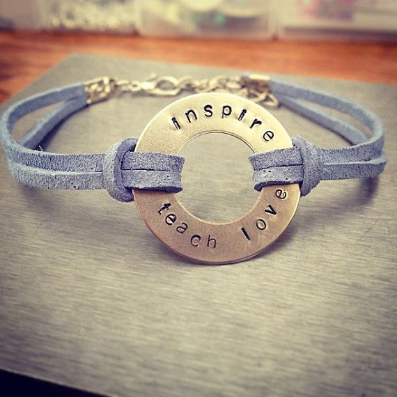 Teacher Themed Washer Bracelet Hand Stamped Inspiration Adjule Faux Suede Metal Stamping Stamp Jewelry