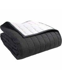 Cotton Quilted Reversable Bedspread Black & Grey