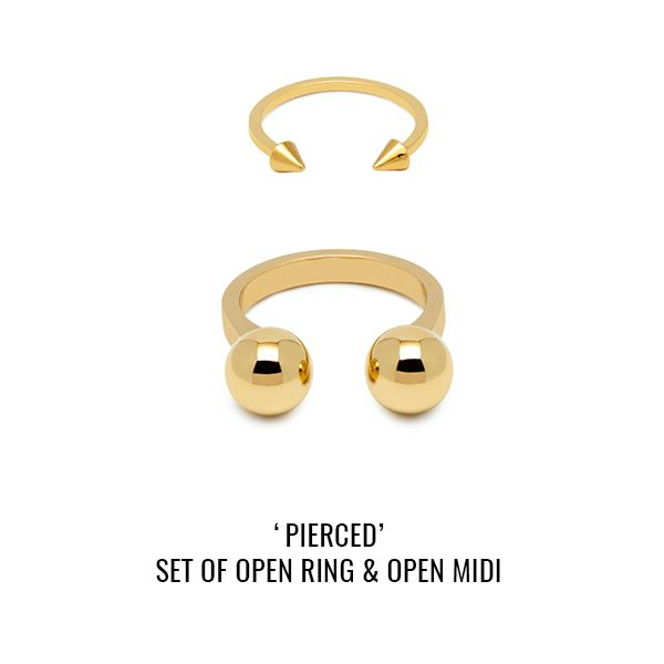 'Pierced' set of open ring and open midi: ring set of two featuring one open ring in the style of an over-sized piercing and open midi with piercing-style studs.