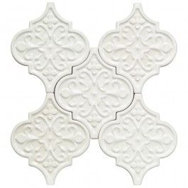 byzantine florid arabesque bianco ceramic tile arabesque tile shop by tile shape and pattern - Arabesque Tile Backsplash
