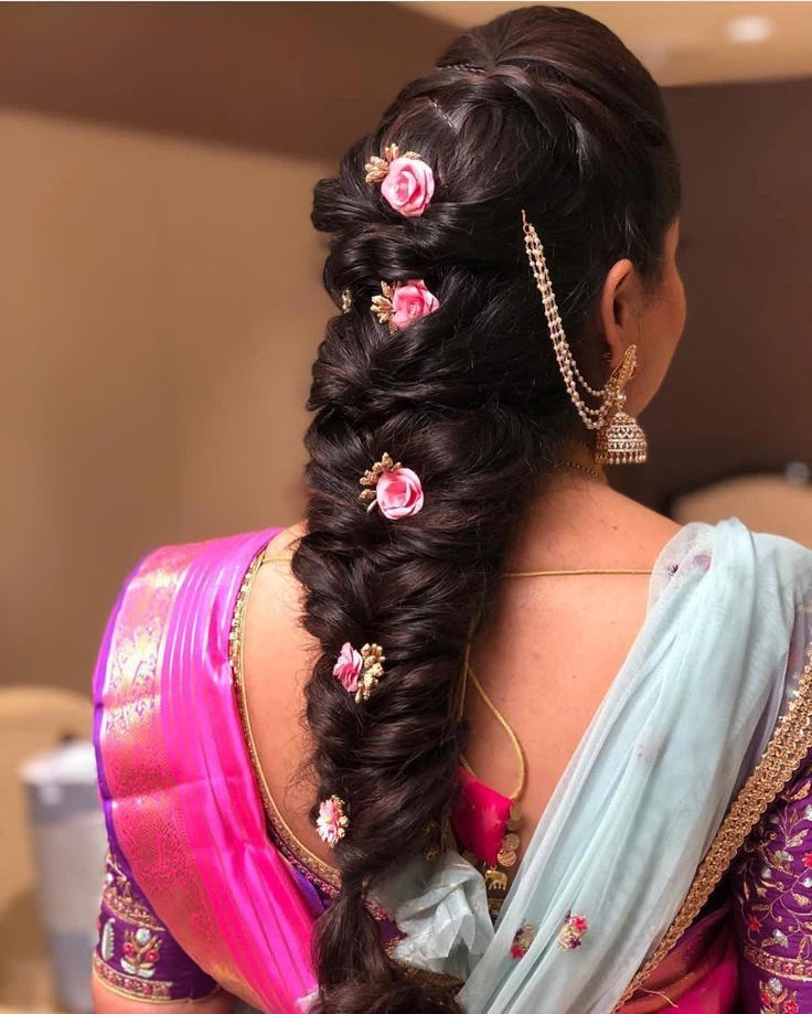 Hyderabad Bridal Inspiration On Instagram Messy Braid Done Right Hairstyling Braided Hairstyles For Wedding Indian Wedding Hairstyles Bridal Hair Buns