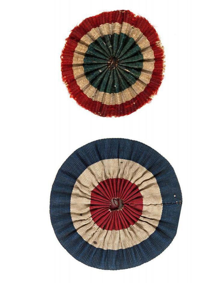 FRANCE Cockades (Cocardes) (1790) fabric 6.0 cm diameter; 4.5 cm diameter Musée Carnavalet - Histoire de Paris, France (inv. OM 544; inv. FL II 183(5))
