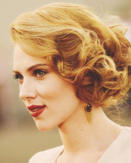 This is my favorite! curly with volume and pulled loosely to one side.