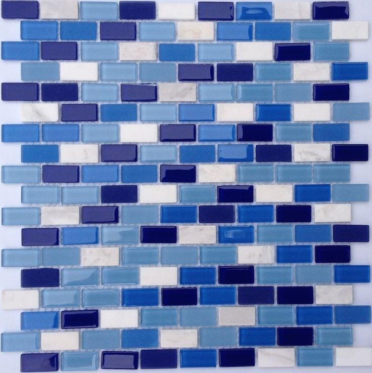 mini glass subway mosaic tile blue mineral tiles