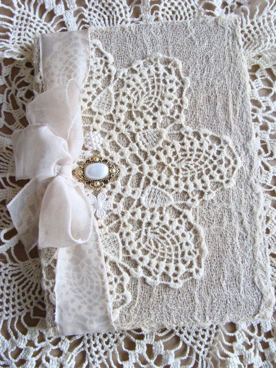 Shabby Chic White Lace Doily Shabby Journal Diary Notebook Guestbook