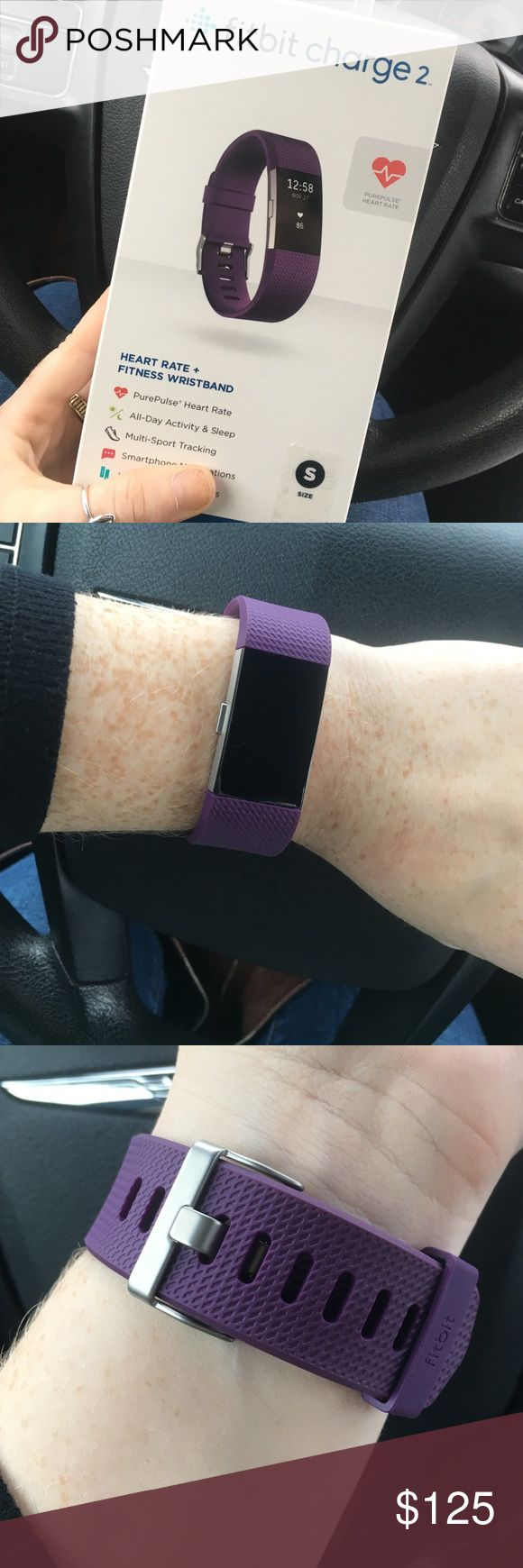 LIKE NEW Fitbit Charge 2 Worn for a half hour and decided I didn't want it. Lost receipt so I can't return it. Like new. Size small purple Fitbit charge 2 with original box and charger. NO TRADES fitbit Accessories Watches