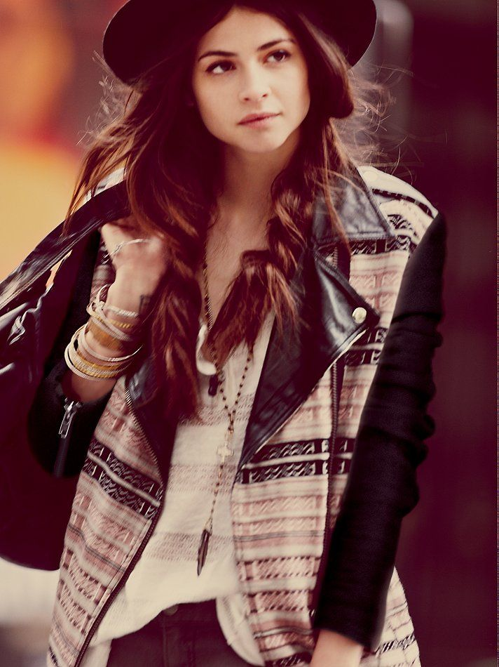 Free People FP New Romantics Leather Sleeve Motorcycle Jacket at Free People Clothing Boutique