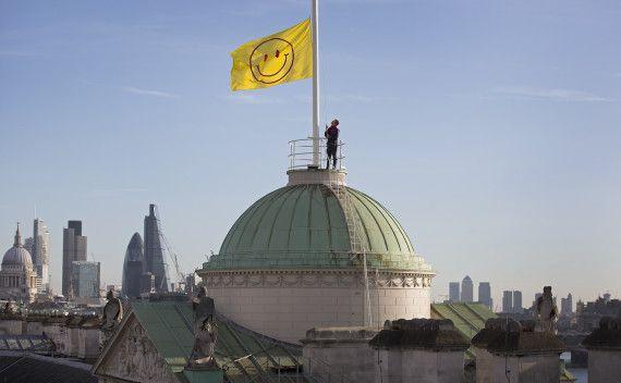 Utopian Flag designed by Jeremy Deller and Fraser Muggeridge studio, flying above Somerset House, London, as part of the UTOPIA 2016 festival