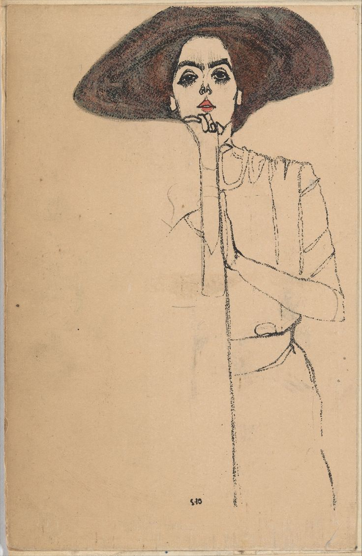 I find the almost cartoon aspect of Egon Schiele's work really interesting. It's very unique, simplistic, and has quite an illustrative style.