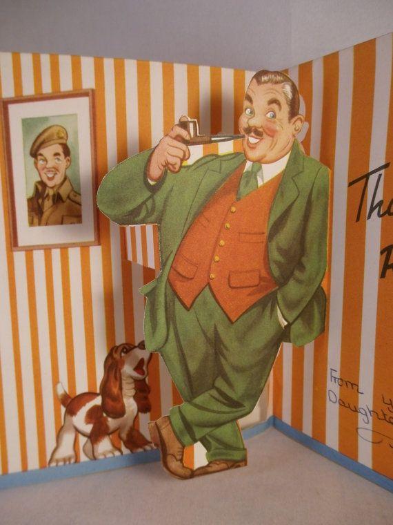 1950s pop up fathers day card by FeltBabushka on Etsy
