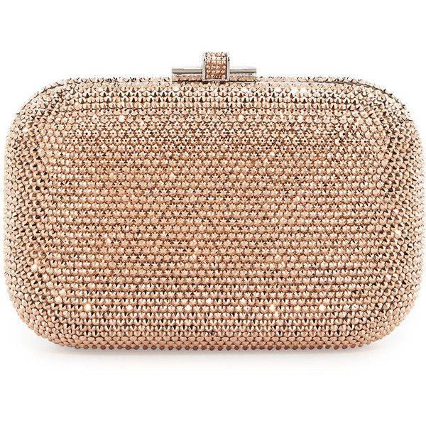 Judith Leiber Couture Crystal Slide-Lock Clutch Bag ($2,995) found on Polyvore featuring bags, handbags, clutches, bolsas, purses, beaded purse, beige handbags, chain handle handbags, beaded clutches and crystal handbags