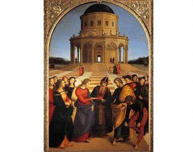 Raffaelo Sanzio, Desposorios de la Virgen, 1504, Pinacoteca Vaticana.