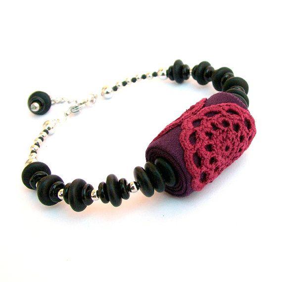Beaded lace bracelet  / fabric jewelry / crochet lace bracelet / skinny bangle / fine jewelry / red bracelet