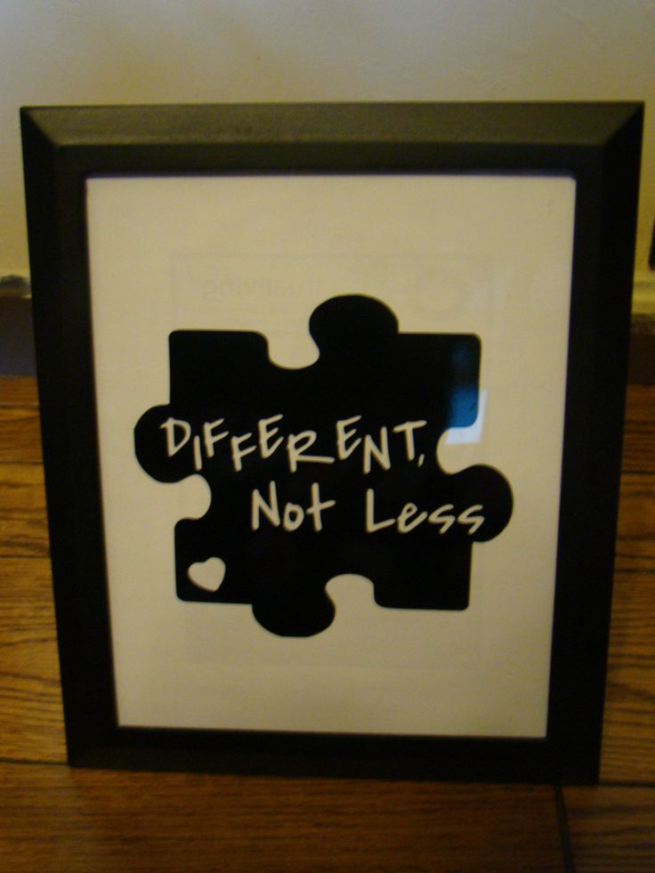 Framed 8x10 vinyl lettering - autism quote  -   Different   not less by RomansHope on Etsy