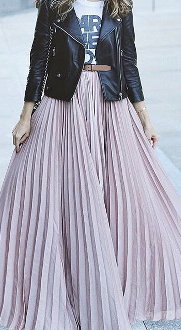 #lovelulus I love everything about this outfit! Flowing maxi skirt + t-shirt + leather jacket + belt = PERFECTION!