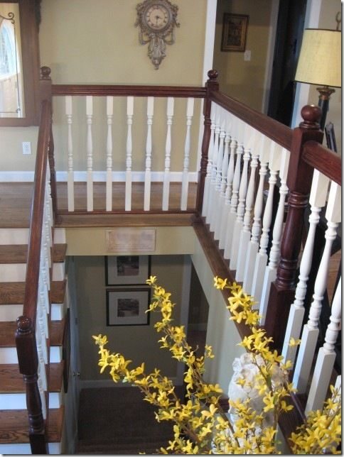 Before: Boring oak banister After: Mahogany stain and white spindles looks fabulous!