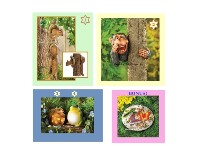 Look at these CUTE garden and yard decor for sale!  Get your yard looking picture perfect this Spring at a low price! ~~~ Bonus + Squirrel, Monkey, Chipmunk or Bullfrog Decor is going up for auction at  3pm Thu, May 23 with a starting bid of $8.