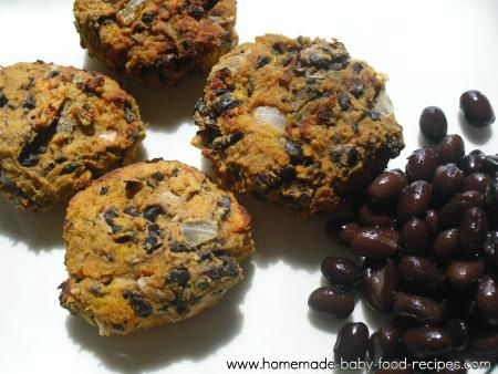 Black bean cakes with sweet potato - a yummy baby finger food recipe   I might leave out the onion though