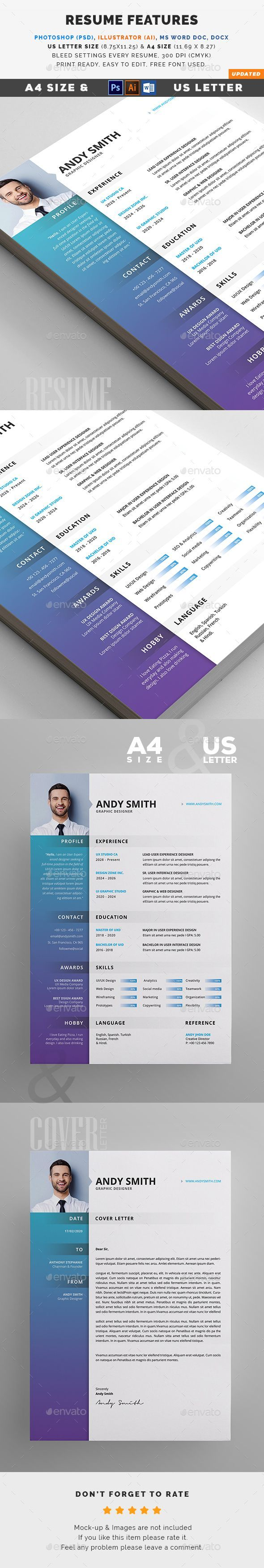 Resume FEATURES:      A4 & US Letter size with Bleed     Easy customizable and editable     300 DPI CMYK Print Ready!     100% Layered and Full Editable     04 PSD Files included     04 Ai Files included     04 Word Files (DOC) included     Help Guide Included     Print Ready Format     Images are not included in the download.  FONT:      Open Sans