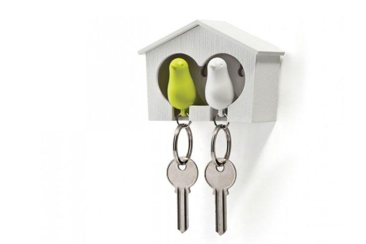 Sparrow the couple - Vogelhuisje sleutelhouder van Qualy // Thinkinge. De Sparrow Key Ring The Couple is waarschijnlijk wel het schattigste sleutelopbergsysteem ooit! #sleutelhanger #sleutelhuisje #valentijn #cadeau
